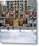 Skating At Rockefeller Plaza Metal Print