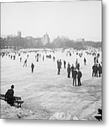 Skating In Central Park Metal Print by Anonymous