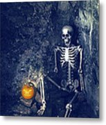 Skeleton With Jack O Lantern Metal Print
