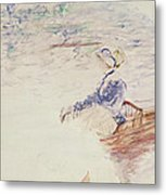 Sketch Of A Young Woman In A Boat Metal Print