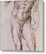 Sketch Of David With His Sling Metal Print by Michelangelo Buonarroti