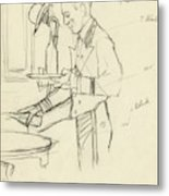 Sketch Of Waiter Pouring Wine Metal Print