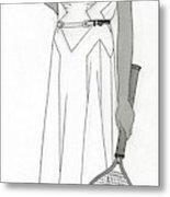 Sketch Of Woman In Tennis Dress Metal Print