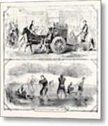 Sketches In China Peking Cab Amusements On The Ice Metal Print