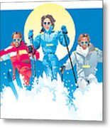 Ski Fun Art Metal Print