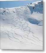 Ski Tracks In The Snow On A Mountain Metal Print by Keith Levit