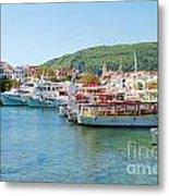 Skiathos Town Harbour Metal Print