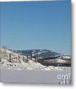 Skidoo Track On Frozen Lake Metal Print