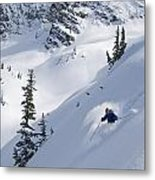 Skier Hitting Powder Below Nak Peak Metal Print