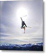 Skier Jumping, Courtenay, Bc Metal Print