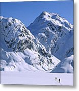 Skiers Cross Frozen Lake Harris Metal Print