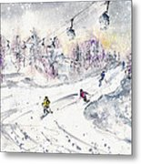 Skiing In The Dolomites In Italy 01 Metal Print