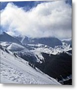 Skiing With A View Metal Print by Fiona Kennard