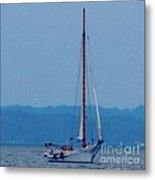 Skipjack Mast Lowering On The Bay Metal Print