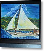 Skipjack Nathan Of Dorchester Famous Sailboat At Sea Metal Print