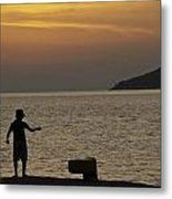 Skopelos Sunset - Fisher Boy - 1 Metal Print