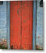Skc 0401 Closed Red Door Metal Print