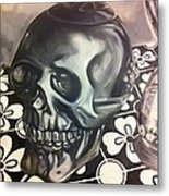 Skull And Hourglass Metal Print