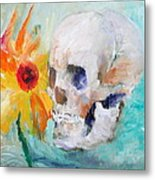 Skull And Sunflower Metal Print