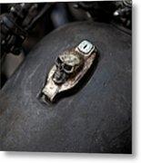Skull Design On Motorcycle Ignition Metal Print