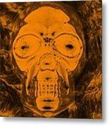 Skull In Negative Orange Metal Print