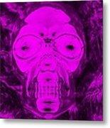 Skull In Negative Purple Metal Print