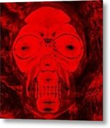 Skull In Negative Red Metal Print