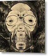 Skull In Negative Sepia Metal Print