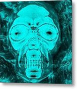 Skull In Negative Turquois Metal Print