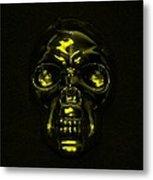 Skull In Yellow Metal Print
