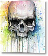 Skull Watercolor Painting Metal Print