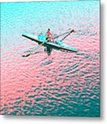 Skulling Boat At Sunset Metal Print