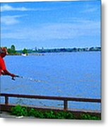 Sky Blue Calm Waters Fisherman On The Pier  Lachine Canal Montreal Summer Scenes Carole Spandau Metal Print
