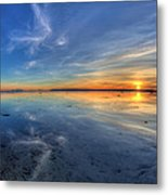 Sky Reflection In Boundary Bay Metal Print