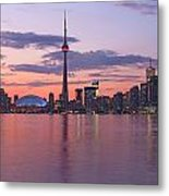Skyline At Dusk From Centre Island Metal Print