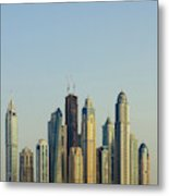 Skyline Of Buildings Around The Dubai Metal Print