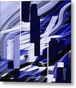Skyline Reflection On Water Metal Print