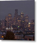 Skylines At Dusk, Seattle, King County Metal Print