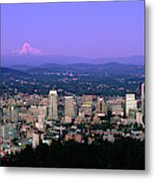 Skylines In A City With Mt Hood Metal Print