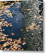 Skyscrapers' Reflections And Fallen Autumn Leaves Metal Print