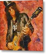 Slash Shredding On Guitar Metal Print
