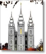 Slc White N Red Temple Metal Print
