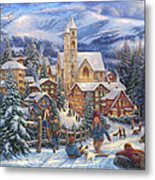 Sledding To Town Metal Print