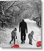 Sledding With Dad Metal Print