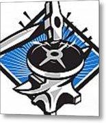 Sledgehammer Striking 45lb Weight Anvil Retro Metal Print by Aloysius Patrimonio