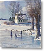 Sledging On A Frozen Pond Metal Print