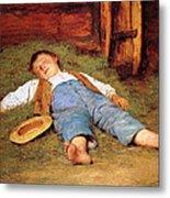 Sleeping Boy In The Hay Metal Print