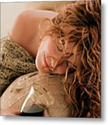 Sleeping Girl With A Glass Of Wine Metal Print