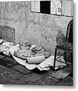 sleeping rough on the streets of Santiago Chile Metal Print