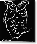 Sleepy Owl Metal Print